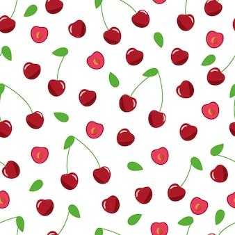 Modèle sans couture de cerises rouges sur fond blanc