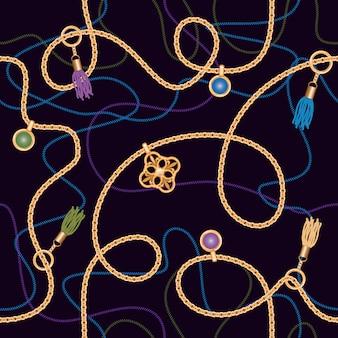 Modèle sans couture avec des chaînes, pendentif et glands.