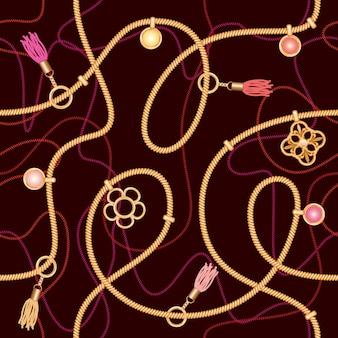 Modèle sans couture avec chaînes, pendentif et glands.