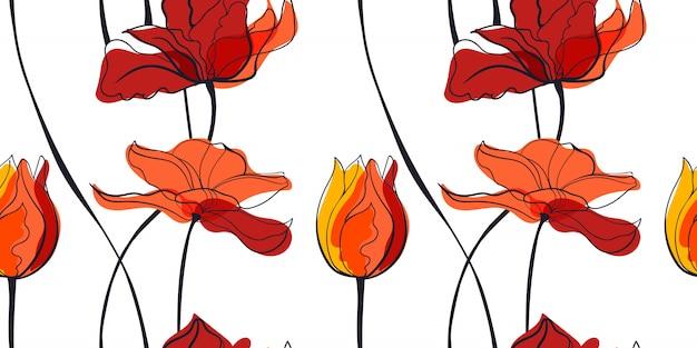 Modèle sans couture de champ de tulipes au coucher du soleil dans le style scandinave