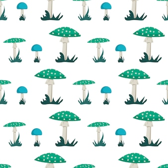Modèle sans couture avec des champignons amanita avec un chapeau bleu et vert vif et des points blancs et de l'herbe. imprimé agaric mouche néon