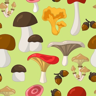 Modèle sans couture avec des champignons comestibles colorés sur fond vert