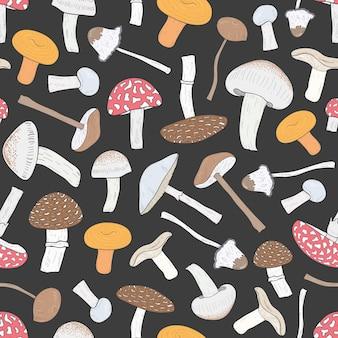 Modèle sans couture de champignons non comestibles différents. champignons dessinés à la main.