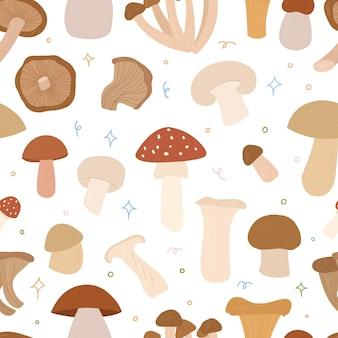Modèle sans couture de champignonsvector illustration de dessin animé dessinés à la main
