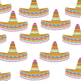 Modèle sans couture de chapeau mexicain