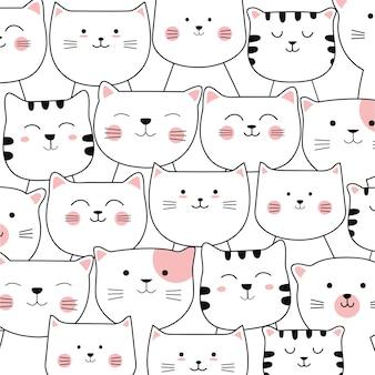 Modèle sans couture de chat adorable