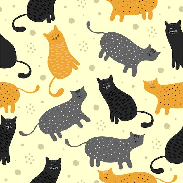 Modèle sans couture de chat amusant