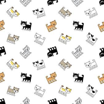 Modèle sans couture de chat chaton