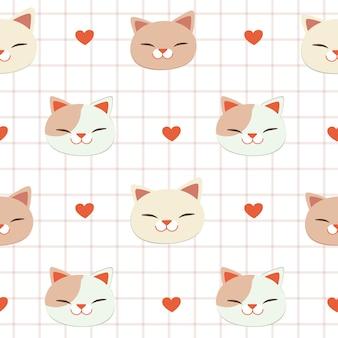 Le modèle sans couture de chat et coeur