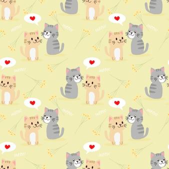Modèle sans couture de chat couple mignon.