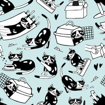 Modèle sans couture avec chat doodle drôle dans différentes postures contre. personnage de dessin animé mignon dessiné à la main en noir et blanc.