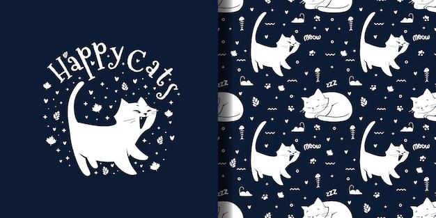 Modèle sans couture de chat heureux mignon dessiné à la main