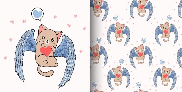 Modèle sans couture chat kawaii cupidon dessiné à la main tient coeur en saint valentin