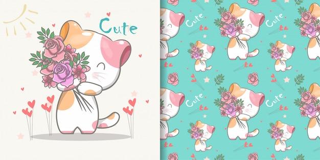 Modèle sans couture de chat mignon et carte d'illustration