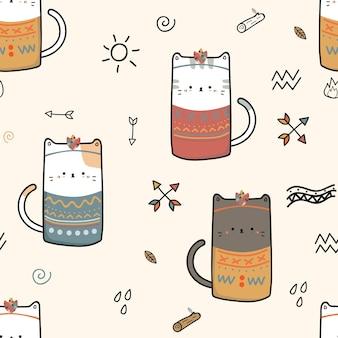 Modèle sans couture de chat mignon chaton boho tribal dessin animé doodle