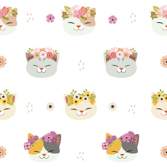 Le modèle sans couture de chat mignon avec une couronne de fleurs dans un style plat.