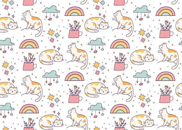 Modèle sans couture de chat mignon doodle