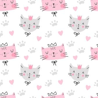 Modèle sans couture de chat mignon avec empreinte de coeur isolé sur textile enfantin design blanc
