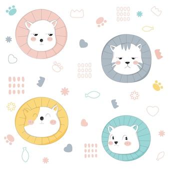 Modèle sans couture de chat mignon style dessiné à la main