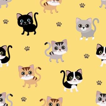 Modèle sans couture de chat mignon.