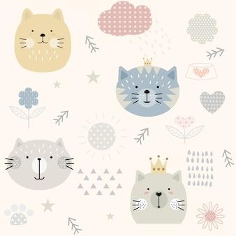 Modèle sans couture de chat mignon