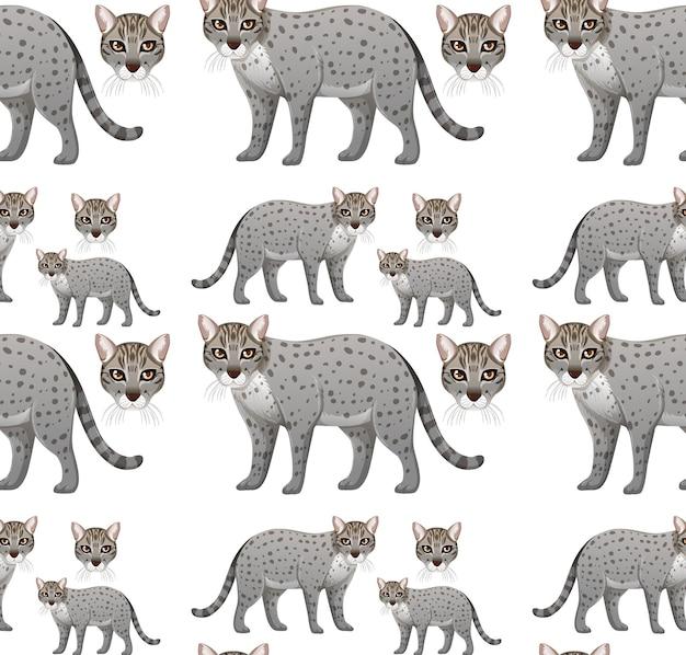 Modèle sans couture avec chat pêche en style cartoon