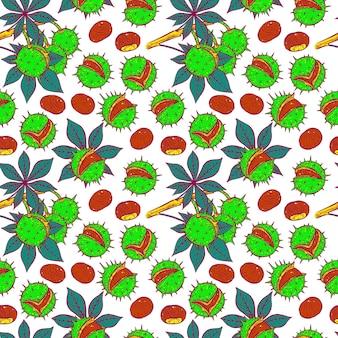 Modèle sans couture de châtaignes de différentes couleurs vives. illustration dessinée à la main