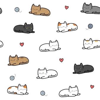 Modèle sans couture de chaton chat pose pose dessin animé doodle