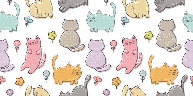 Modèle sans couture de chaton dessiné main