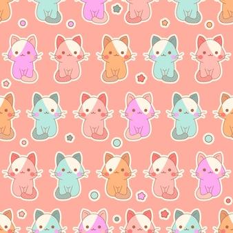 Modèle sans couture de chatons kawaii mignon