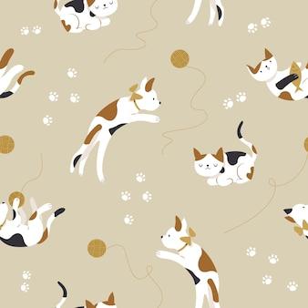 Modèle sans couture de chatons mignons