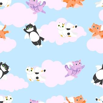 Modèle sans couture de chats anges avec chatons chat tigré à rayures tricolores et chats rouges