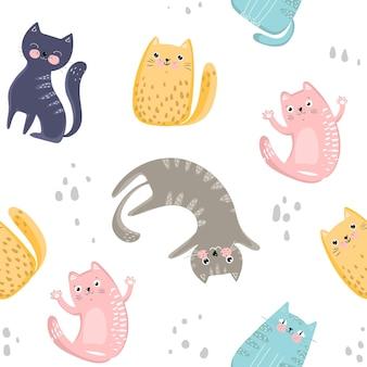 Modèle sans couture avec des chats colorés mignons. idéal pour le tissu, le textile, le papier d'emballage, le papier peint et autres. illustration vectorielle eps10