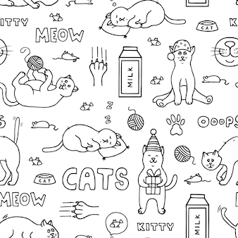 Modèle sans couture avec des chats doodle.