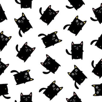 Modèle Sans Couture De Chats Drôles, Illustration Vectorielle Eps10. Vecteur Premium