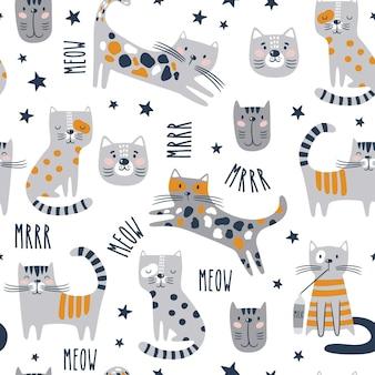Modèle sans couture avec des chats drôles.