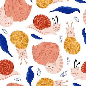 Modèle sans couture de chats escargots mignons et drôles