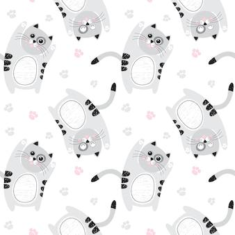 Modèle sans couture avec des chats gris mignons