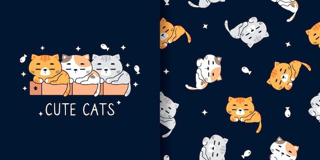 Modèle sans couture de chats mignons dessinés à la main