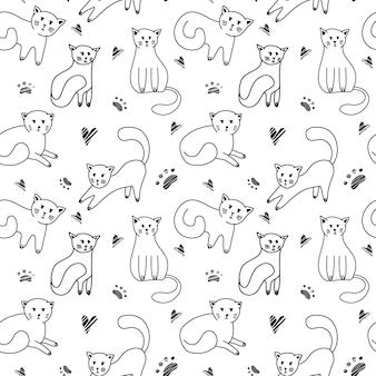 Modèle sans couture de chats mignons doodle