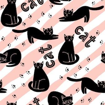 Modèle sans couture avec des chats mignons et des empreintes de pattes de chat de lettrage sur illustration vectorielle de rayures