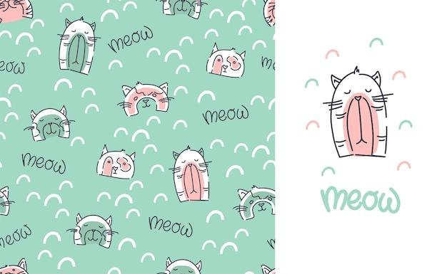 Modèle sans couture de chats mignons. les enfants impriment pour les vêtements. une carte postale avec un chat et une inscription. fond de vecteur.