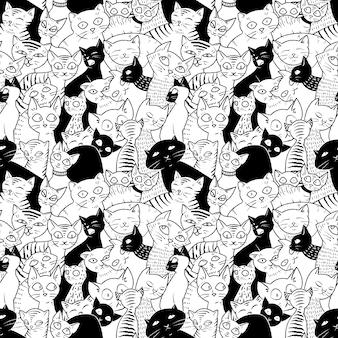 Modèle sans couture avec des chats mignons.
