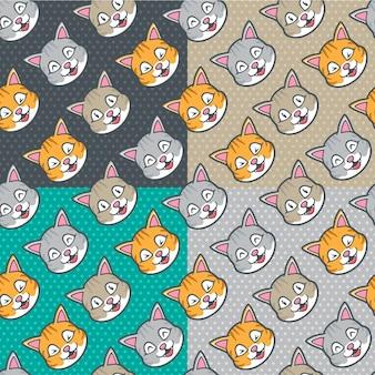 Modèle sans couture de chats mignons