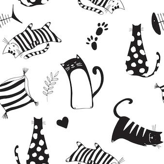 Modèle sans couture avec des chats noirs