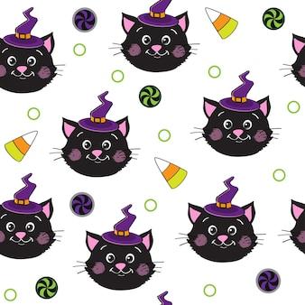 Modèle sans couture de chats noirs