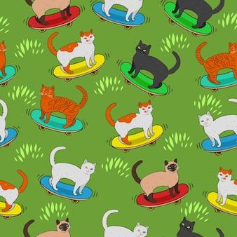 Modèle sans couture avec des chats sur des planches à roulettes.
