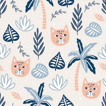 Modèle sans couture avec chats et plantes tropicales.