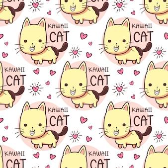Modèle sans couture chats souriant dents grimaçantes