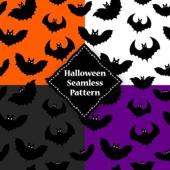 Modèle sans couture d'une chauve-souris noire sur halloween